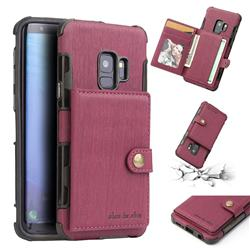 Brush Multi-function Leather Phone Case for Samsung Galaxy S9 - Wine Red