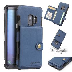Brush Multi-function Leather Phone Case for Samsung Galaxy S9 - Blue
