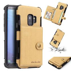 Brush Multi-function Leather Phone Case for Samsung Galaxy S9 - Golden