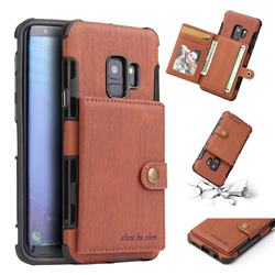 Brush Multi-function Leather Phone Case for Samsung Galaxy S9 - Brown