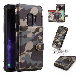 Camouflage Multi-function Leather Phone Case for Samsung Galaxy S9 - Gray