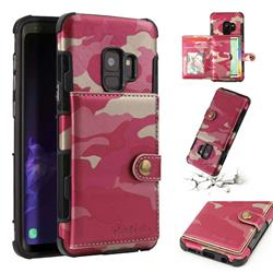 Camouflage Multi-function Leather Phone Case for Samsung Galaxy S9 - Rose