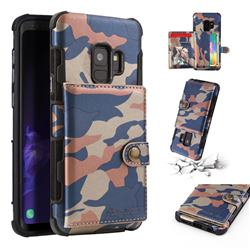 Camouflage Multi-function Leather Phone Case for Samsung Galaxy S9 - Blue