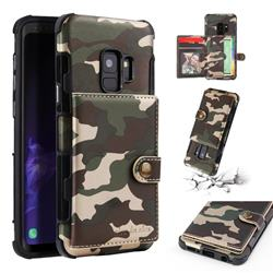 Camouflage Multi-function Leather Phone Case for Samsung Galaxy S9 - Army Green