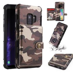 Camouflage Multi-function Leather Phone Case for Samsung Galaxy S9 - Coffee