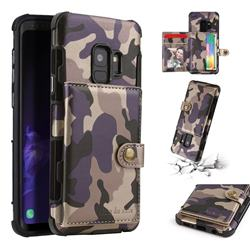 Camouflage Multi-function Leather Phone Case for Samsung Galaxy S9 - Purple