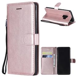 Retro Greek Classic Smooth PU Leather Wallet Phone Case for Samsung Galaxy S9 - Rose Gold