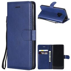 Retro Greek Classic Smooth PU Leather Wallet Phone Case for Samsung Galaxy S9 - Blue
