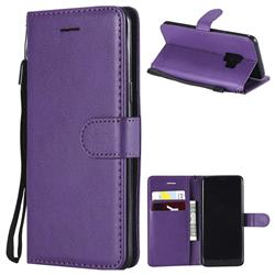 Retro Greek Classic Smooth PU Leather Wallet Phone Case for Samsung Galaxy S9 - Purple