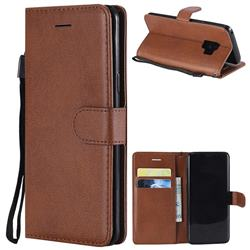 Retro Greek Classic Smooth PU Leather Wallet Phone Case for Samsung Galaxy S9 - Brown