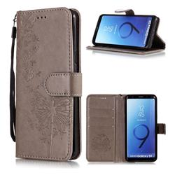 Intricate Embossing Dandelion Butterfly Leather Wallet Case for Samsung Galaxy S9 - Gray