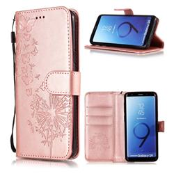 Intricate Embossing Dandelion Butterfly Leather Wallet Case for Samsung Galaxy S9 - Rose Gold