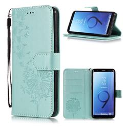 Intricate Embossing Dandelion Butterfly Leather Wallet Case for Samsung Galaxy S9 - Green