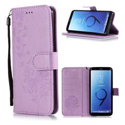 Intricate Embossing Dandelion Butterfly Leather Wallet Case for Samsung Galaxy S9 - Purple