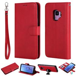 Retro Greek Detachable Magnetic PU Leather Wallet Phone Case for Samsung Galaxy S9 - Red
