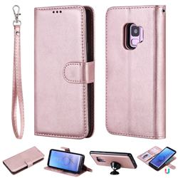 Retro Greek Detachable Magnetic PU Leather Wallet Phone Case for Samsung Galaxy S9 - Rose Gold
