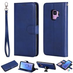 Retro Greek Detachable Magnetic PU Leather Wallet Phone Case for Samsung Galaxy S9 - Blue