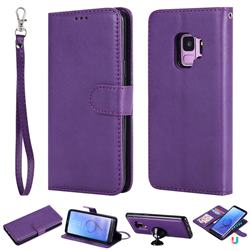 Retro Greek Detachable Magnetic PU Leather Wallet Phone Case for Samsung Galaxy S9 - Purple
