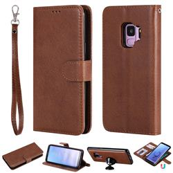 Retro Greek Detachable Magnetic PU Leather Wallet Phone Case for Samsung Galaxy S9 - Brown