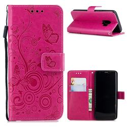 Intricate Embossing Butterfly Circle Leather Wallet Case for Samsung Galaxy S9 - Red