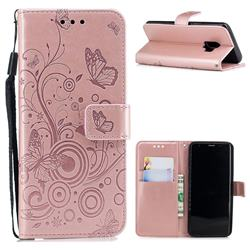 Intricate Embossing Butterfly Circle Leather Wallet Case for Samsung Galaxy S9 - Rose Gold