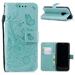 Intricate Embossing Butterfly Circle Leather Wallet Case for Samsung Galaxy S9 - Cyan