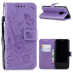 Intricate Embossing Butterfly Circle Leather Wallet Case for Samsung Galaxy S9 - Purple