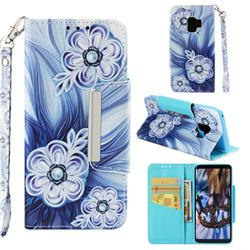 Button Flower Big Metal Buckle PU Leather Wallet Phone Case for Samsung Galaxy S9