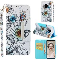 Fotus Flower Big Metal Buckle PU Leather Wallet Phone Case for Samsung Galaxy S9