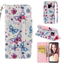 Colored Butterfly Big Metal Buckle PU Leather Wallet Phone Case for Samsung Galaxy S9