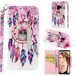 Owl Wind Chimes Big Metal Buckle PU Leather Wallet Phone Case for Samsung Galaxy S9