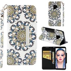Phoenix Tail Big Metal Buckle PU Leather Wallet Phone Case for Samsung Galaxy S9