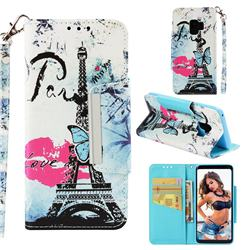 Lip Tower Big Metal Buckle PU Leather Wallet Phone Case for Samsung Galaxy S9