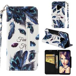 Peacock Feather Big Metal Buckle PU Leather Wallet Phone Case for Samsung Galaxy S9