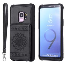 Luxury Embossing Sunflower Multifunction Leather Back Cover for Samsung Galaxy S9 - Black