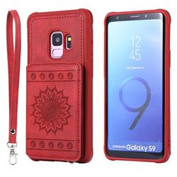 Luxury Embossing Sunflower Multifunction Leather Back Cover for Samsung Galaxy S9 - Red