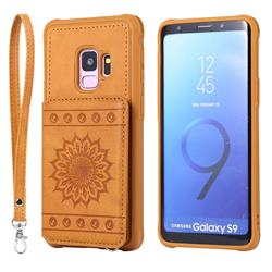 Luxury Embossing Sunflower Multifunction Leather Back Cover for Samsung Galaxy S9 - Brown