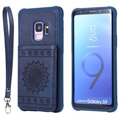 Luxury Embossing Sunflower Multifunction Leather Back Cover for Samsung Galaxy S9 - Blue