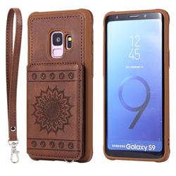 Luxury Embossing Sunflower Multifunction Leather Back Cover for Samsung Galaxy S9 - Coffee
