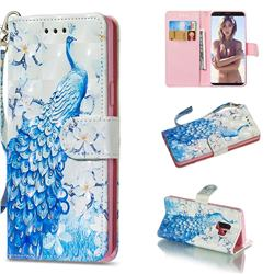 Blue Peacock 3D Painted Leather Wallet Phone Case for Samsung Galaxy S9