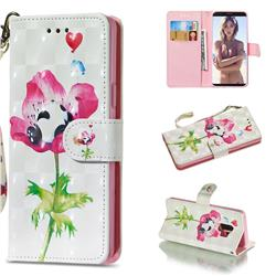 Flower Panda 3D Painted Leather Wallet Phone Case for Samsung Galaxy S9