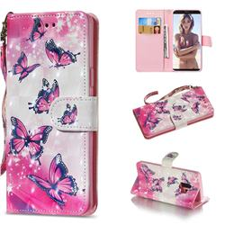 Pink Butterfly 3D Painted Leather Wallet Phone Case for Samsung Galaxy S9