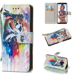 Watercolor Owl 3D Painted Leather Wallet Phone Case for Samsung Galaxy S9
