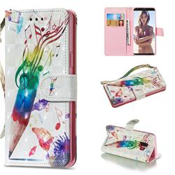 Music Pen 3D Painted Leather Wallet Phone Case for Samsung Galaxy S9