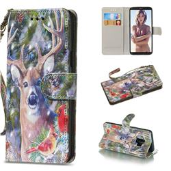 Elk Deer 3D Painted Leather Wallet Phone Case for Samsung Galaxy S9