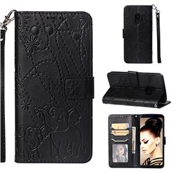 Embossing Fireworks Elephant Leather Wallet Case for Samsung Galaxy S9 - Black
