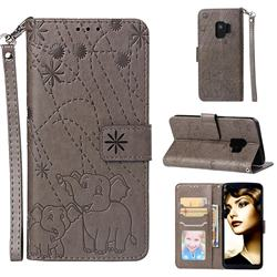 Embossing Fireworks Elephant Leather Wallet Case for Samsung Galaxy S9 - Gray