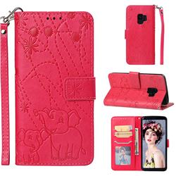 Embossing Fireworks Elephant Leather Wallet Case for Samsung Galaxy S9 - Red