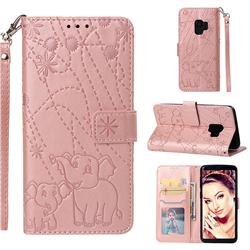 Embossing Fireworks Elephant Leather Wallet Case for Samsung Galaxy S9 - Rose Gold