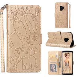 Embossing Fireworks Elephant Leather Wallet Case for Samsung Galaxy S9 - Golden